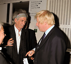 Left to right, KEITH RICHARDS and Mayor of London BORIS JOHNSON at the GQ Men of the Year 2011 Awards dinner held at The Royal Opera House, Covent Garden, London on 6th September 2011.