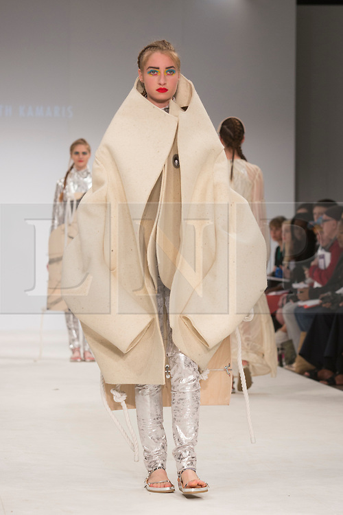 © Licensed to London News Pictures. 30/05/2015. London, UK. A model walks the runway during the Birmingham City University fashion show at Graduate Fashion Week 2015 wearing the collection of graduate student Elisabeth Kamaris. Graduate Fashion Week takes place from 30 May to 2 June 2015 at the Old Truman Brewery, Brick Lane. Photo credit : Bettina Strenske/LNP