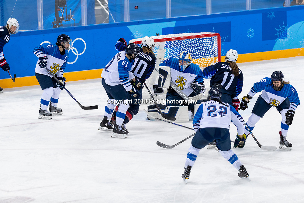 Noora Raty (USA) #41 goalie during USA-FInland Women's Hockey competition at the Olympic Winter Games PyeongChang 2018