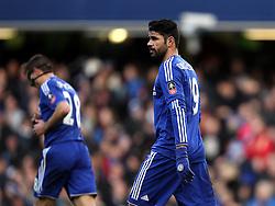Diego Costa of Chelsea celebrates scoring his opening goal against Scunthorpe United - Mandatory byline: Robbie Stephenson/JMP - 10/01/2016 - FOOTBALL - Stamford Bridge - London, England - Chelsea v Scunthrope United - FA Cup Third Round