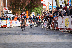 Marianne Vos loses control in the sprint over the cobbles at Dwars door de Westhoek 2016. A 127km road race starting and finishing in Boezinge, Belgium on 24th April 2016.