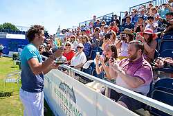 LIVERPOOL, ENGLAND - Sunday, June 24, 2018: Alessandro Giannessi (ITA) shows off the Boodles trophy after winning the Men's Singles during day four of the Williams BMW Liverpool International Tennis Tournament 2018 at Aigburth Cricket Club. (Pic by Paul Greenwood/Propaganda)