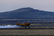Harvard Mk II of Yellow Thunder taking off for aerial demonstration at Airshow of the Cascades.