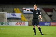 Referee Martin Coy pointing, directing, signalling, gesture during the EFL Sky Bet League 2 match between Scunthorpe United and Bolton Wanderers at the Sands Venue Stadium, Scunthorpe, England on 24 November 2020.