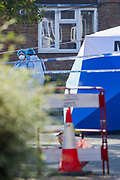 Police Forensic unit arrived at the crime scene in North London on Tuesday, Sept 15, 2020 - early morning to continue their investigation after man has died of stab wounds on Monday in London. Police have launched an investigation after they attended North Road N7 around 8 pm and found a male, thought to be a teen, with stab wounds. (VXP Photo/ Vudi Xhymshiti)