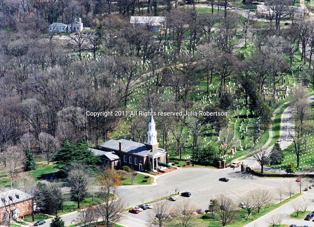 Aerial view of the Fort Myer Chapel, National Cemetery, arlington VA