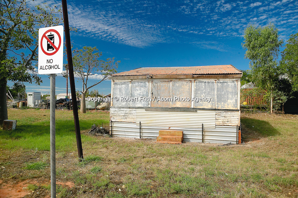 """Shed and """"no alcohol"""" sign on the outskirts of Broome in the Kimberley"""
