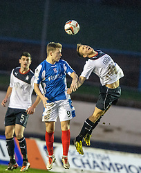 Cowdenbeath's Greg Stewart and Falkirk's Will Vaulks.<br /> Cowdenbeath 0 v 2 Falkirk, Scottish Championship game today at Central Park, the home ground of Cowdenbeath Football Club.<br /> © Michael Schofield.