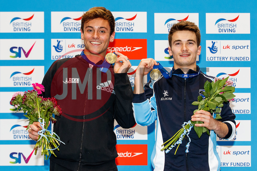 Tom Daley from Dive London Aquatics Club and Daniel Goodfellow from Plymouth Diving collect their Gold Medals on the podium after winning the Mens Synchronised 10m Platform Final to all but guarantee their selection for the Rio 2016 Olympic Games - Mandatory byline: Rogan Thomson/JMP - 10/06/2016 - DIVING - Ponds Forge - Sheffield, England - British Diving Championships 2016 Day 1.