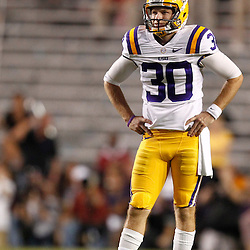 November 3, 2012; Baton Rouge, LA, USA;  LSU Tigers kicker Drew Alleman (30) reacts after missing a field goal against the Alabama Crimson Tide during a game at Tiger Stadium. Alabama defeated LSU 21-17. Mandatory Credit: Derick E. Hingle-US PRESSWIRE