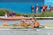 Eton Dorney, Windsor, Great Britain,..2012 London Olympic Regatta, Dorney Lake. Eton Rowing Centre, Berkshire[ Rowing]...Description;   Women's Pair Final AUS W2- Silver Medalist, .Kate HORNSEY (b) , Sarah TAIT (s) celebrate,  Dorney Lake. 11:57:35  Wednesday  01/08/2012.  [Mandatory Credit: Peter Spurrier/Intersport Images].Dorney Lake, Eton, Great Britain...Venue, Rowing, 2012 London Olympic Regatta...