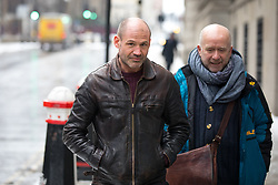 © Licensed to London News Pictures. 01/03/2018. London, UK. James (Jim) Matthews (left) arrives at the Old Bailey to attend a preliminary hearing, as he is charged with one count of 'attending a place used for terrorist training', under section 8 of the Terrorism Act 2006. The former British Army soldier fought with Kurdish forces - the YPG - against ISIS in Syria. Photo credit : Tom Nicholson/LNP