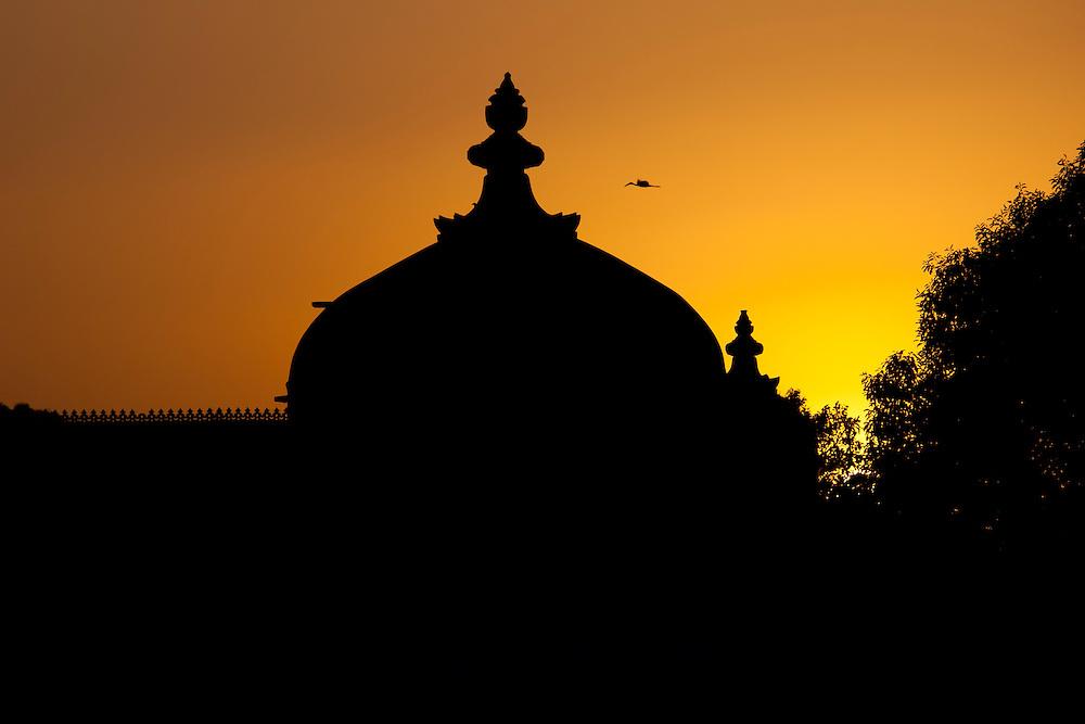 Gol Mahal Raj Angan annexe to The City Palace at sunset in Udaipur, Rajasthan, India