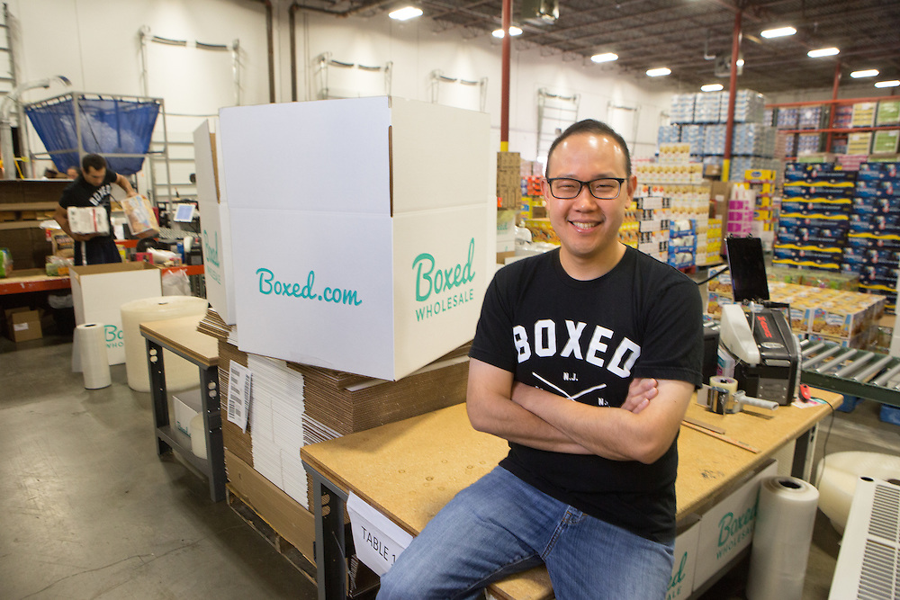 Portrait of Chieh Huang, a 2008 Fordham Law graduate who is the CEO and co-founder of Boxed, inside his company's facility in Edison, N.J. 9/25/15 Photo by John O'Boyle