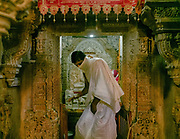 """Jain temple. Visiting Jaisalmer, a former medieval trading center and a princely state in the western Indian state of Rajasthan, in the heart of the Thar Desert. Known as the """"Golden City,"""" it's distinguished by its yellow sandstone architecture."""