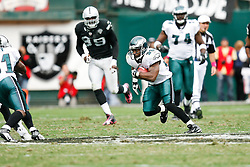 Philadelphia Eagles running back Brian Westbrook #36 runs the ball during the NFL game between the Philadelphia Eagles and the Oakland Raiders. The Raiders won 13-9 at The Oakland-Alameda County Coliseum in Oakland, California. (Photo By Brian Garfinkel)