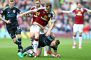 Darren Fletcher of West Bromwich Albion and Ashley Barnes of Burnley battle for the ball. Premier League match, Burnley v West Bromwich Albion at Turf Moor in Burnley , Lancs on Saturday 6th May 2017.<br /> pic by Chris Stading, Andrew Orchard sports photography.