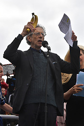 © Licensed to London News Pictures. 29/08/2020. London, UK.  PIERS CORBYN makes a speech to protesters at the Stand Up X demonstration in Trafalgar Square organised by the organisation Stand Up X in London, United Kingdom on August 29, 2020. The group is against the British government policy of Covid-19 measures including mask wearing, vaccinations and lockdown.<br />
