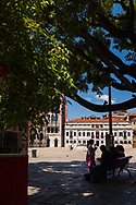 A family enjoys the shade of a tree at the edge of a sunny piazza in Venice, Italy