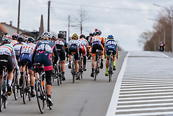 Lead group on the long, straight road to Wevelgem - Women's Gent Wevelgem 2016, a 115km UCI Women's WorldTour road race from Ieper to Wevelgem, on March 27th, 2016 in Flanders, Belgium.