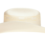 A straw cowboy hat isolated on a pure white background