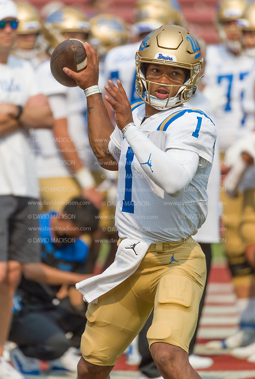 PALO ALTO, CA - SEPTEMBER 26:  Dorian Thompson-Richardson #1 of the UCLA Bruins warms up before an NCAA Pac-12 college football game against the Stanford Cardinal on September 26, 2021 at Stanford Stadium in Palo Alto, California.  (Photo by David Madison/Getty Images)