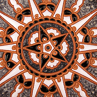 Europe, Greece, Rhodes. Traditional Greek ceramic plate design.