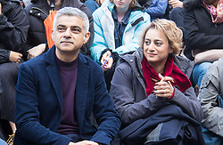 "City Hall, London, March 5th 2017. Stars join March4Women through London. Mayor of London Sadiq Khan and suffragette descendents prepare to march and ""sing for a fairer world ahead of International Women's Day"". Attended by Annie Lennox, Emeli Sande, Helen Pankhurst, Bianca Jagger and with musical performances from Emeli Sande, Melanie C and more. PICTURED:  more. PICTURED: Mayor of London Sadiq Khan and his wife Saadiya Khan"