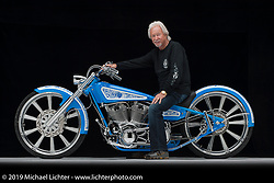 Arlen Ness with his 124 ci S&S powered custom built for the Allstate Insurance 2012 tour. Photographed by Michael Lichter on March 8, 2012 in Daytona Beach, Florida. ©2012 Michael Lichter.