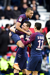March 14, 2018 - Paris, France, France - joie des joueurs du PSG apres le but de Kylian Mbappe  (Credit Image: © Panoramic via ZUMA Press)