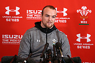 Kristian Dacey, the Wales rugby player talks to the media during the Wales rugby team announcement press conference at the Vale Resort Hotel in Hensol, near Cardiff , South Wales on Thursday  16th November 2017.  the team are preparing for their Autumn International series match against Georgia this weekend.   pic by Andrew Orchard