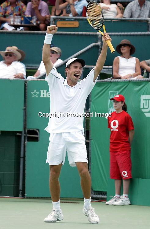 17 January 2004, Heineken Tennis Open, ASB Tennis Centre, Auckland, New Zealand.<br />Final, Dominik Hrbaty (SVK) vs Rafael Nadal (ESP)<br />Dominik Hrbaty celebrates as he wins the game 4-6, 6-2, 7-5.<br />Pic: Sandra Teddy/Photosport