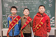 Boys at primary school in Hong Ying Road, Xian. China has a one child policy to reduce population.