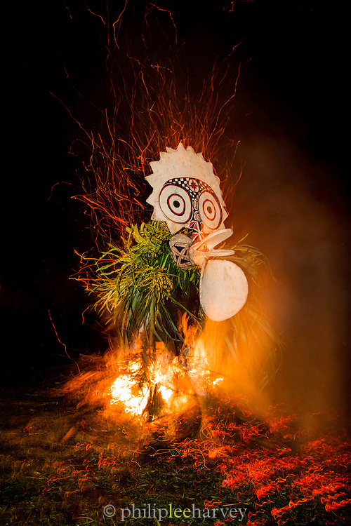 Performer in the Baining fire dance, East New Britain, Papua New Guinea