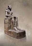 Ancient Egyptian statue of Tuthmosis II, granodorite, New Kingdom, 18th Dynasty, (1479-1425 BC), Karnak, Temple of Amun. Egyptian Museum, Turin. Grey background.<br /> <br /> Tuthmosis II is shown wearing Royal regalia including the shendyt kilt, the nemes headdress and the uraeus cobra on his forehead. Between his legs in a bulls tail, the symbol of power. On the sides of the throne is the sema-tawy, a sign composed of a lotus and papyrus, the symbols od Upper and Lower Egypt. Under the feet of the king are the Nine Bows, the enemies of Egypt. Together these symbolise that the pharaoh keeps the two halves of Egypt together and protects them against her enemies. Drovetti Collection. C 1376 .<br /> <br /> If you prefer to buy from our ALAMY PHOTO LIBRARY  Collection visit : https://www.alamy.com/portfolio/paul-williams-funkystock/ancient-egyptian-art-artefacts.html  . Type -   Turin   - into the LOWER SEARCH WITHIN GALLERY box. Refine search by adding background colour, subject etc<br /> <br /> Visit our ANCIENT WORLD PHOTO COLLECTIONS for more photos to download or buy as wall art prints https://funkystock.photoshelter.com/gallery-collection/Ancient-World-Art-Antiquities-Historic-Sites-Pictures-Images-of/C00006u26yqSkDOM