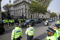© Licensed to London News Pictures. 02/11/2017. London, UK. CT-SFO armed anti-terrorism police (pictured in 2 grey Range Rovers) watch over as Israeli Prime Minister Benjamin Netanyahu arrives at Downing Street in London . Mr Netanyahu is holding bilateral talks with Foreign Secretary Boris Johnson and Prime Minister Theresa May in London today. Photo credit: London News Pictures