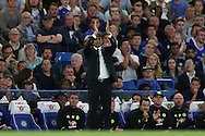Antonio Conte, the Chelsea manager applauding his players from the touchline. Premier league match, Chelsea v West Ham United at Stamford Bridge in London on Monday 15th August 2016.<br /> pic by John Patrick Fletcher, Andrew Orchard sports photography.