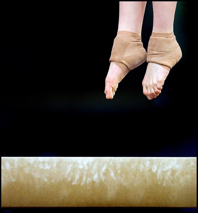 The Netherlands, Amsterdam, 26-04-2007.<br /> European Championship Gymnastics, Women.<br /> The feet of Carlotta Giovannini from Italie above the balance beam.<br /> Photo: Klaas Jan van der Weij