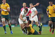 Jonny May of England is tackled by Will Genia of Australia. Rugby World Cup 2015 pool A match, England v Australia at Twickenham Stadium in London, England  on Saturday 3rd October 2015.<br /> pic by  John Patrick Fletcher, Andrew Orchard sports photography.