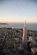 The view from the Carnelian Room, a cocktail lounge on the 52nd floor of the U.S. Bank Tower in San Francisco.  The Transamerica building and North Beach appear to lie at your feet.