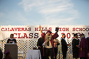 Cal Hills High School senior Anthony Hayes Jr. celebrates after receiving his diploma during the Class of 2013 graduation at the Milpitas Sports Center in Milpitas, California, on June 6, 2013. (Stan Olszewski/SOSKIphoto)