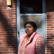 COLUMBIA, SOUTH CAROLINA - JANUARY 27: Ashley B. Page,<br /> SNAP-ED Program Coordinator at the<br /> USC Arnold School of Public Health, poses for a picture outside of her grandmothers old apartment at Allen Benedict Court Columbia, SC on January 27, 2020. After her grandma  moved out but residents were told in July 2019 they had to vacate the housing complex after 2 people died of carbon monoxide poisoning.   (Photo by Logan CyrusforThe Washington Post)