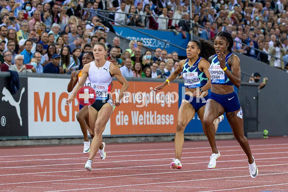 Elaine Thompson-Herah of Jamaica (R) on her way winning the 100m Women ahead of third placed Ajla Del Ponte (L) of Switzerland and fifth placed Mujinga Kambundji (C) of Switzerland during the Iaaf Diamond League meeting (Weltklasse Zuerich) at the Letzigrund Stadium in Zurich, Switzerland, Thursday, Sept. 9, 2021. (Photo by Patrick B. Kraemer / MAGICPBK)