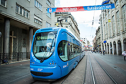 Tram in city centre during Day Off in Group C of FIBA Europe Eurobasket 2015, on September 7, 2015, in Zagreb, Croatia. Photo by Vid Ponikvar / Sportida