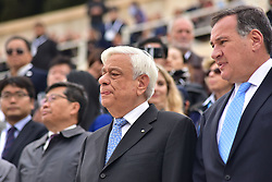 October 31, 2017 - Athens, Attiki, Greece - President of Hellenic Republic Prokopis Pavlopoulos (left) with the President of the Hellenic Olympic Committee Spyros Capralos (right). The Handover Ceremony of the Olympic Flame for Winter Games PYEONGCHANG 2018, took place today in Panathenaic Stadium in the presence of the President of Hellenic Republic Prokopis Pavlopoulos. (Credit Image: © Dimitrios Karvountzis/Pacific Press via ZUMA Wire)