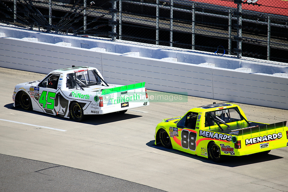 March 23, 2019 - Martinsville, VA, U.S. - MARTINSVILLE, VA - MARCH 23:   #45: Ross Chastain, Niece Motorsports, Chevrolet Silverado TruNorth/Paul Jr. Designs leads #88: Matt Crafton, ThorSport Racing, Ford F-150 Ideal Door/Menards during the 21st running of the NASCAR Gander Outdoors Truck Series TruNorth Global 250 race on March 23, 2019 at the Martinsville Speedway in Martinsville, VA.  (Photo by David John Griffin/Icon Sportswire) (Credit Image: © David J. Griffin/Icon SMI via ZUMA Press)