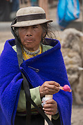 Indian woman<br /> Calpi animal market<br /> Parish of Riobamba, Chimborazo Province<br /> Andes<br /> ECUADOR, South America
