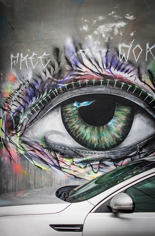 A large eye seems to be looking at you on  a street in Miami's Wynwood district famed for its murals.