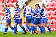GOAL Reading players celebrate after Reading midfielder Natasha Harding (11) (hidden) had scored during the FA Women's Super League match between Manchester United Women and Reading LFC at Leigh Sports Village, Leigh, United Kingdom on 7 February 2021.