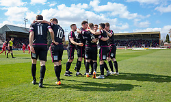 Arbroath's players cele Ryan Wallace (9) goal. Brechin City 1 v 1 Arbroath, Scottish Football League Division One played 13/4/2019 at Brechin City's home ground Glebe Park. Arbroath win promotion.